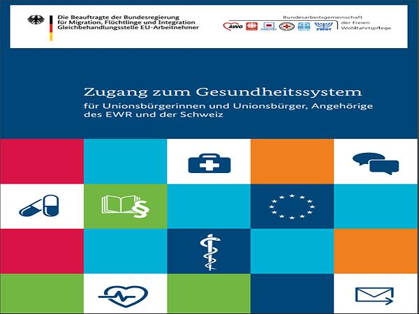 """Titelblatt Gesundheitsbroschüre mit dem Titel """"Zugang zum deutschen Gesundheitssystem"""""""