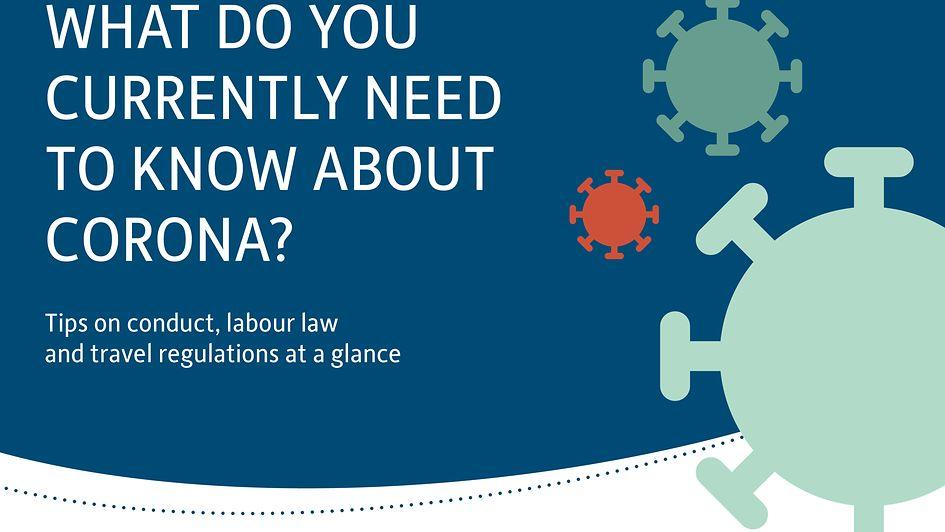 """Grafische Darstellung des Coronavirus mit dem Text """"Was Sie jetzt über Corona wissen müssen"""" - Verhaltenstipps, Arbeitsrecht und Reisebestimmungen auf einen Blick"""""""